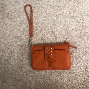 Small orange wristlet/credit card holder